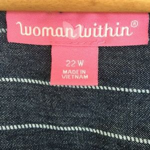 Woman Within Dresses - Pinstripe Chambray Denim Lace Up Front Dress 22W